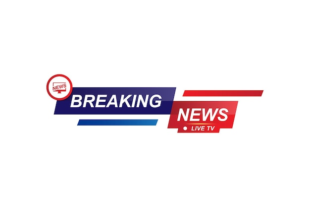 Breaking news template title for screen tv channel on white background. flat vector illustration eps10