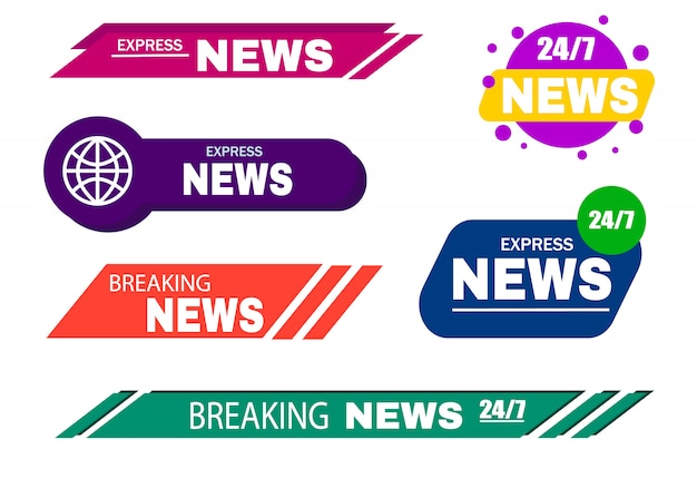 Breaking news template title for screen tv channel.