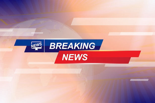 Breaking news template title with globe world map on blue background with light effects for screen tv channel.