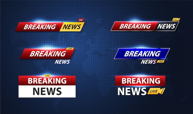 Breaking news template title with shadow on world map background for screen tv. vector design.