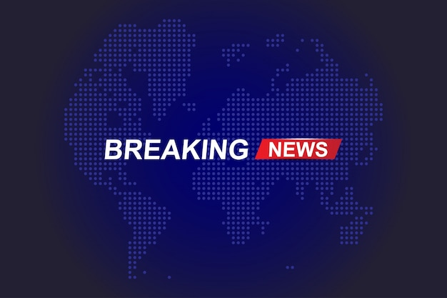 Breaking news template title with world map on blue background with light effects for screen tv channel.