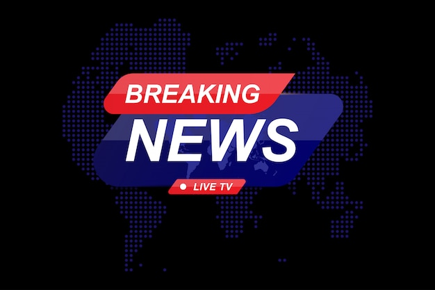 Breaking news template title with world map on dark background with light effects for screen tv channel.