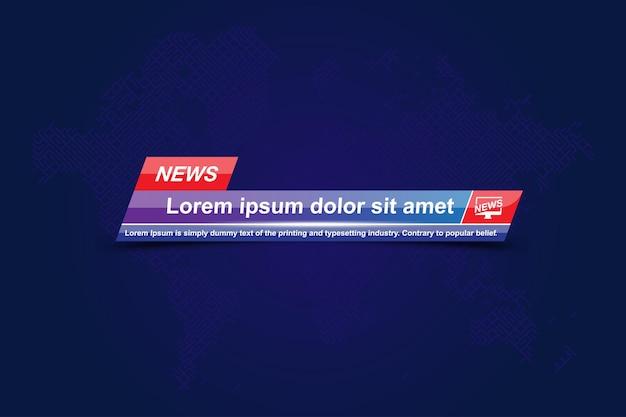 스크린 tv 채널에 대한 세계지도가있는 속보 템플릿 제목.