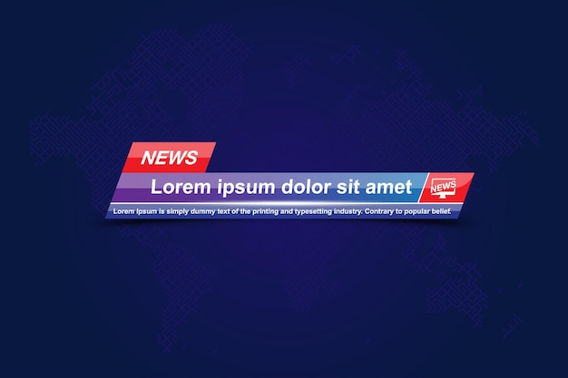 Breaking news template title with world map for screen tv channel.
