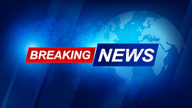 Breaking news template with 3d red and blue badge