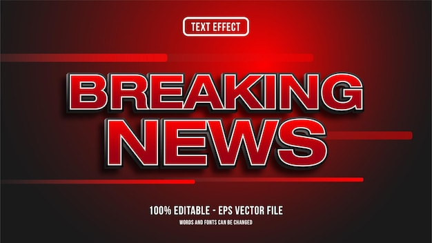 Breaking news text effect style concept
