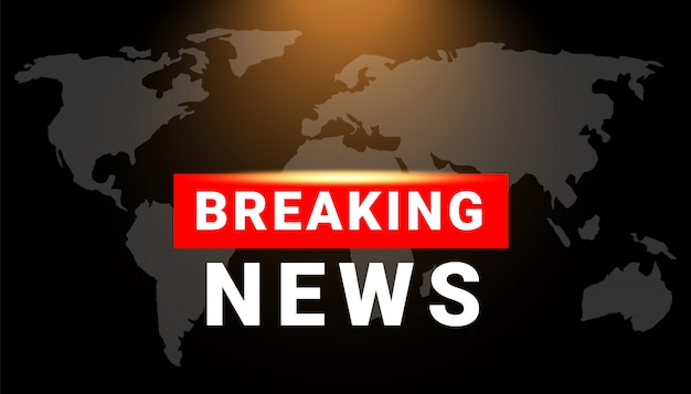 Breaking news text on red border broadcast background with world map. news broadcast and breaking news live illustration