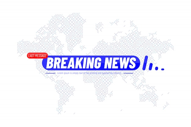 Breaking news title template with technology world map for screen tv channel
