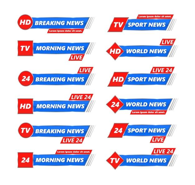 Набор последних новостей тв баннеры. последние новости, full hd, ultra hd, инсценировка, запись в прямом эфире. нижний колонтитул, название канала или эмблема с текстом, третья часть нижней строки.