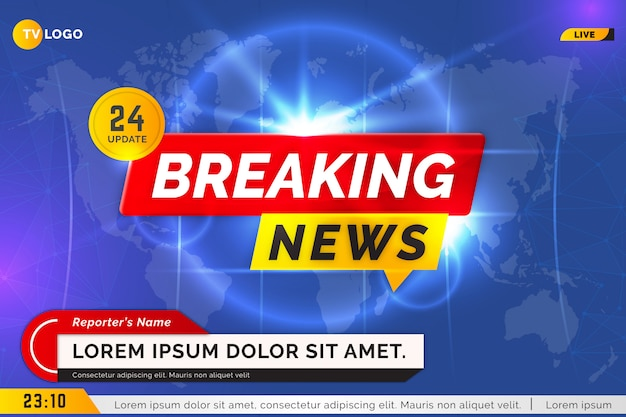 Breaking news tv blue background