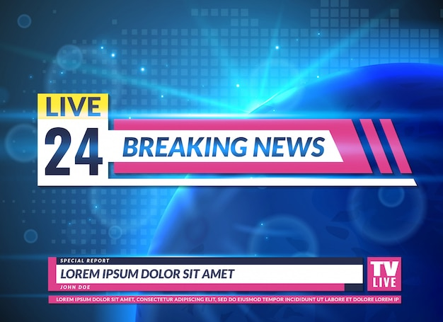 Breaking news. tv reporting screen banner template design. breaking television news, online broadcast
