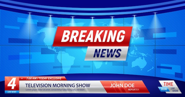 Breaking news with the silhouette of earth map, studio lights and editable text