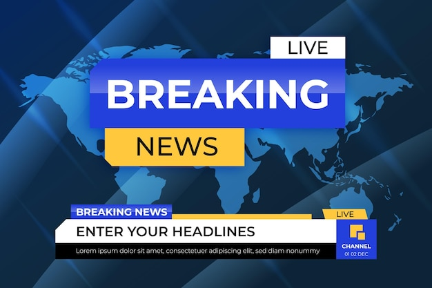 Breaking news with world map wallpaper