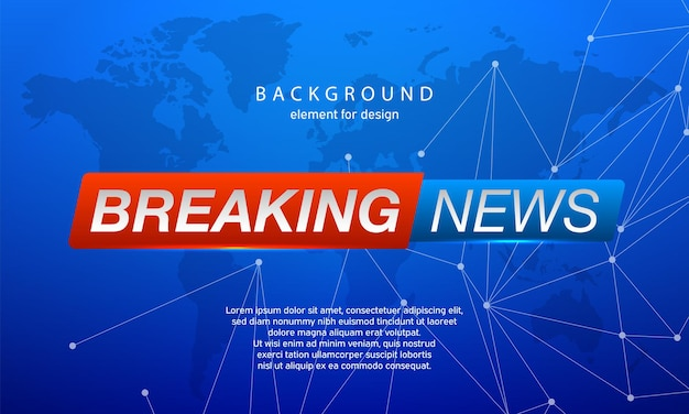 Breaking news on world map background. planet news.