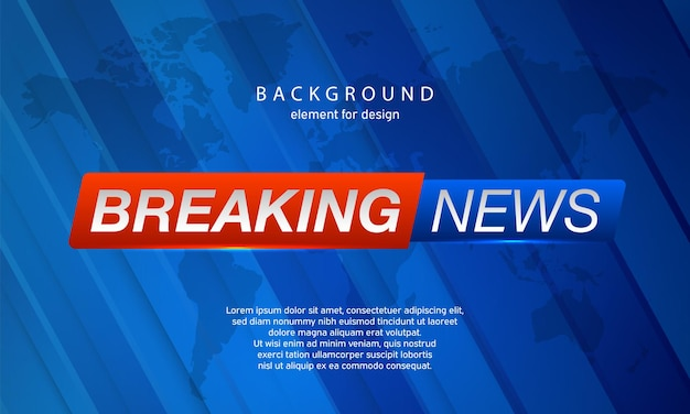 Breaking news on world map background