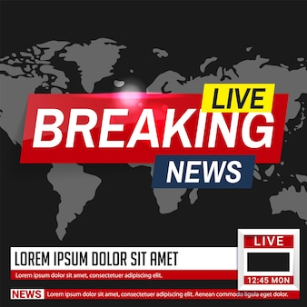 Breaking news. world news. breaking news on world map background.