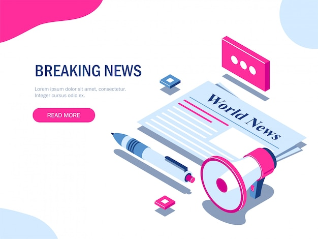 Breaking news or world news isometric