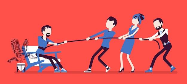 Выход из зоны комфорта для личностного роста. команда людей старается вывести мужчину из уютной обстановки, где он чувствует себя комфортно и безопасно. векторная иллюстрация, безликие персонажи