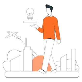 Прорыв идея бизнес иллюстрация плоской линии