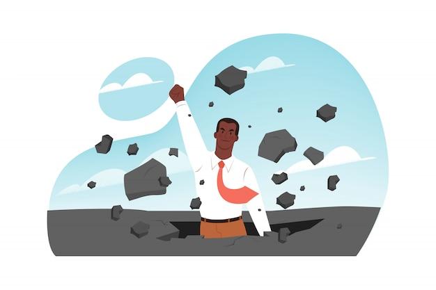 Прорыв, лидерство, успех в бизнесе, концепция запуска