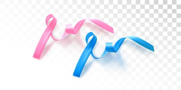 남성과 여성의 건강 관리 개념의 유방암 및 전립선암 인식 파란색과 분홍색 리본 표시