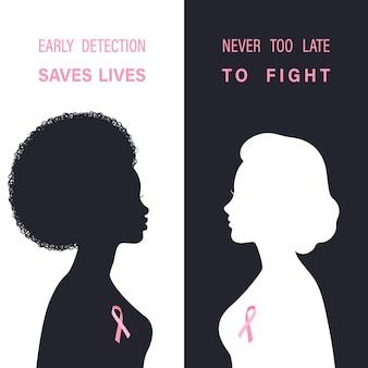흑인과 백인 여성 실루엣으로 유방암 인식 배경