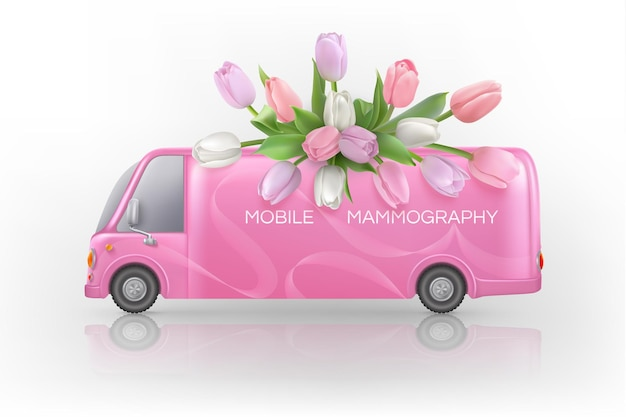 핑크 튤립과 모바일 유방조영술 버스가 있는 유방암 인식 배경