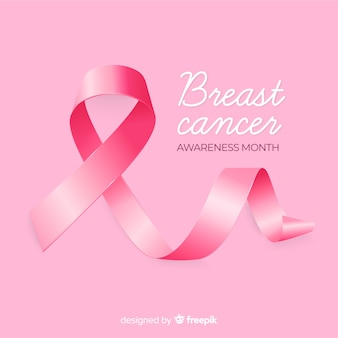 Breast cancer awareness background with realistic ribbon