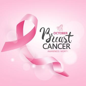 乳がん啓発バナーとリボン、新しいソーシャルメディアテンプレートの乳がん啓発