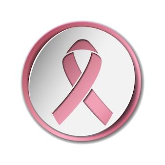 텍스트와 현실적인 핑크 리본 유방암 인식 개념.