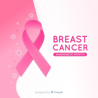 Breast cancer awareness event with realistic ribbon