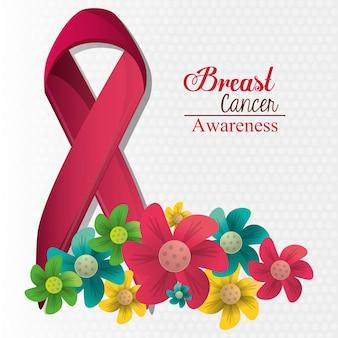 유방암 인식 꽃과 리본