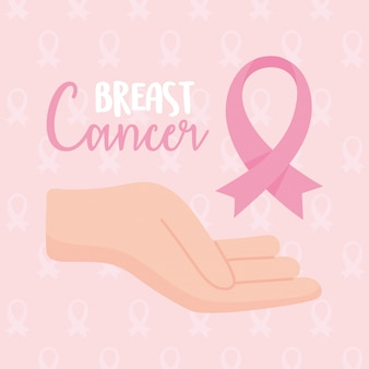 乳房癌意識手ピンクリボンベクターデザインとイラスト