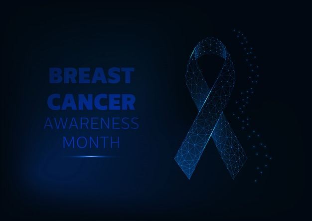 Breast cancer awareness month background template with glowing symbol ribbon and text.