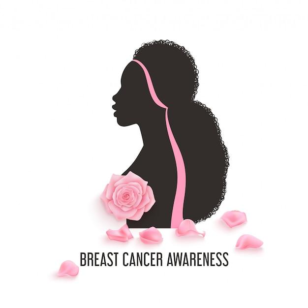 写実的なピンクのバラと乳がん啓発月間背景