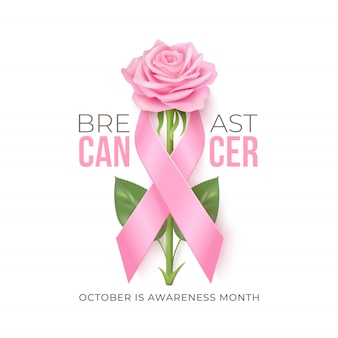 Breast cancer awareness month background with pink ribbon and rose