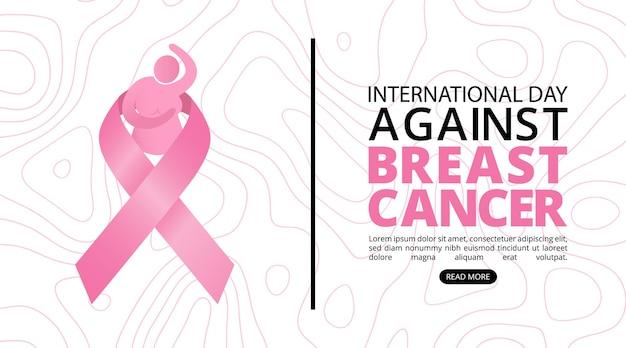 ピンクのサテンリボンのロゴと乳がん啓発月の背景
