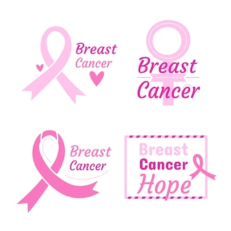 Breast cancer awareness month badges collection
