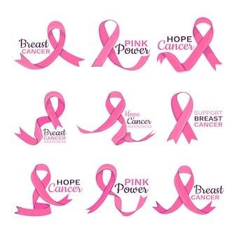 Коллекция значков месяца осведомленности о раке груди