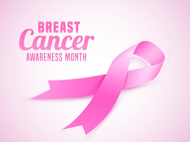Breast cancer awareness month banner or poster  with pink ribbon.