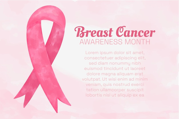 Breast cancer awareness month banner with delicate pink background, watercolor textured pink ribbon, text with copy space.