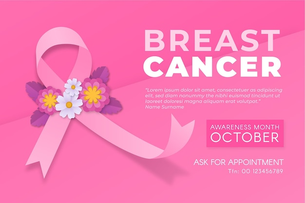 Breast cancer awareness month banner with flowers