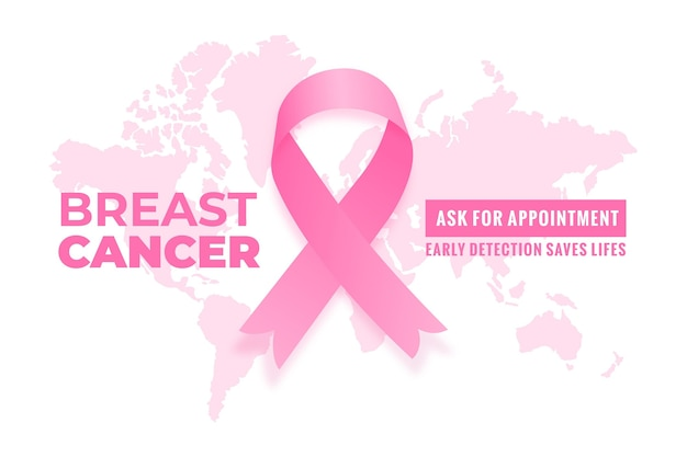 Breast cancer awareness month banner with map