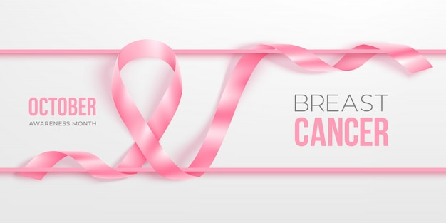 Breast cancer awareness month banner with photorealistic pink ribbon
