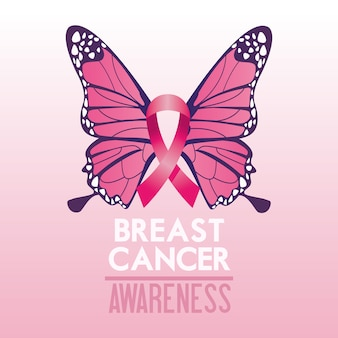 Breast cancer awareness month campaign poster with ribbon pink and butterfly