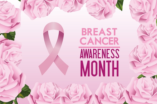 Breast cancer awareness month campaign poster with ribbon pink and roses frame