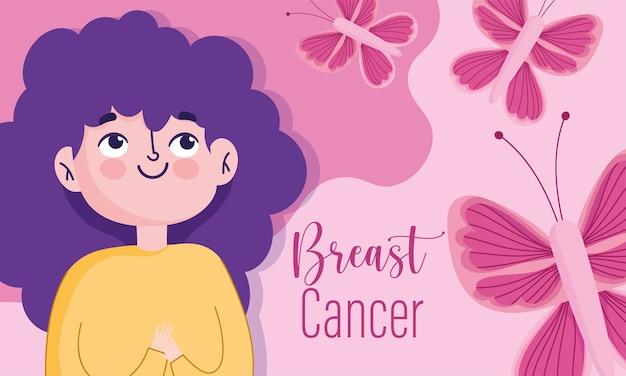 힘과 건강 지원을위한 유방암 인식의 달 만화 여자