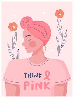 유방암 인식의 달 개념. 손으로 그린 여자 터번을 입고 분홍색 배경을 생각하는 텍스트 공간이있는 분홍색 옷을 입으십시오.