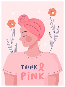 Breast cancer awareness month concept. hand drawn woman wearing turbans and wear pink clothes with text space think pink background