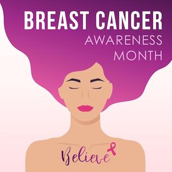 젊은 여성과 텍스트가 있는 유방암 인식의 달 디자인